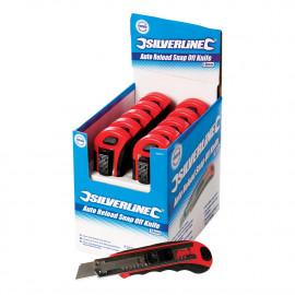 Boîte présentoir de 10 cutters à lame sécable auto-rechargeables 18 mm 10 pcs